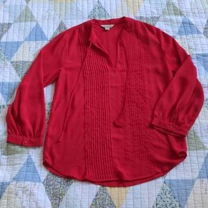 Lucky Brand Loose Fit Tie Blouse, Sz XS,Cherry Red